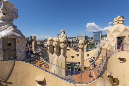 Barcelona, Spain. May 6, 2017: Roof and chimneys of Casa Mila ,also known as La Pedrera, by Catalan architect Antoni Gaudi. 에디토리얼