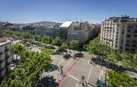 Famous street of Passeig de Gracia in Barcelona, Spain Stock Photo