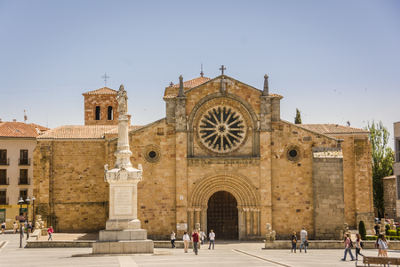 Plaza de Santa Teresa de Jesus ann the church of San Pedro Apostol in Avila, Spain. Example of spanish Romanesque Architecture