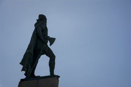 Leif Erikson statue silhouette in Reykjavik, Iceland. Erikson was a Norse explorer from Iceland and the first known European to have discovered continental North America Stock Photo