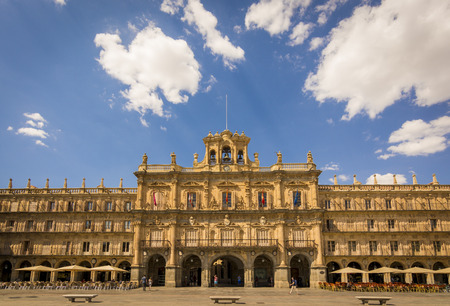 salamanca: Plaza Mayor of Salamanca in Spain. One of the most beautiful Squares of Europe. Exterior image shot from public floor.Declared by UNESCO a World Heritage Site since 1988.