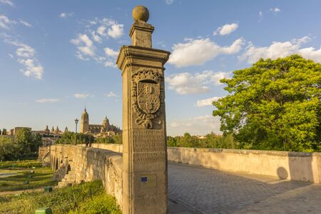 castilla: Ancient Roman bridge with the New Cathedral in the background in Salamanca, Spain Stock Photo