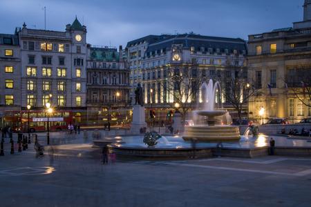 Trafalgar Square in the blue hour, London