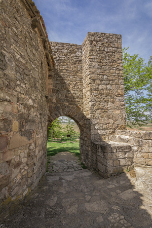 Arab gate on the walls of Medinaceli. Medinaceli is an ancient and historic town in the province of Soria, in Castile and Leon, Spain. Stock Photo