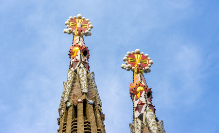 Barcelona, Spain. September 2017: Top of the Sagrada Familia towers. La Sagrada Familia - the impressive cathedral designed by Gaudi, which is being build since 19 March 1882 and is not finished yet.