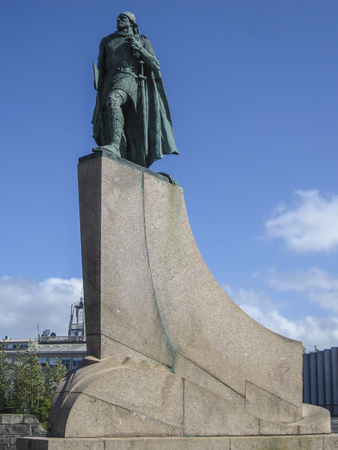 Leif Erikson statue in Reykjavik, Iceland. Ericsson was a Norse explorer from Iceland and the first known European to have discovered continental North America Stock Photo