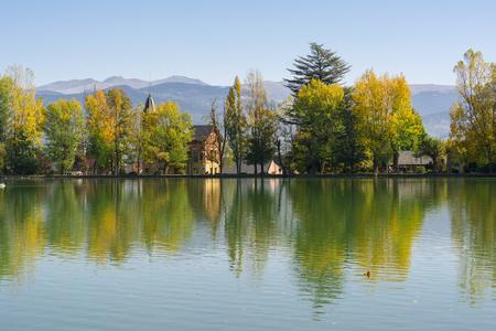 Reflection on the Puigcerdas pond water Reklamní fotografie