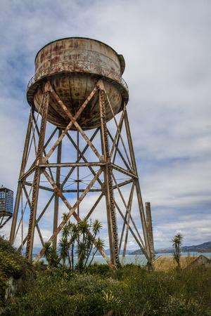 alcatraz: Rusty water tank in Alcatraz, San Francisco.
