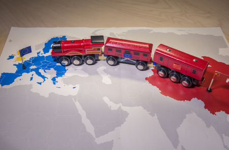 Toy train connecting Europa and China. Yidaiyilu project