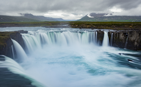 Gorgeous Godafoss waterfalls in north Iceland. Slow shutter speed, silk effect