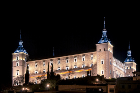 Night view of the Alcazar in Toledo, Castilla La Mancha, Spain