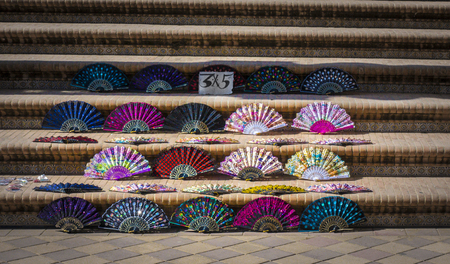 Colorful spanish hand fans for sale in Sevilla, Andalusia. Spain