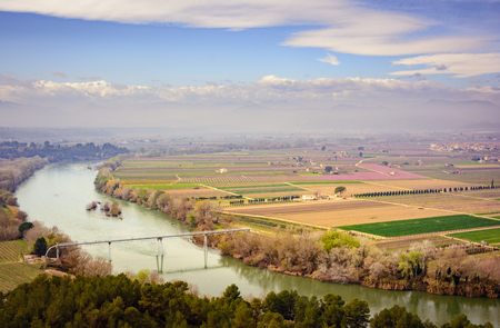 Ebro River, Spain, passing near Mora la Nova and Mora dEbre