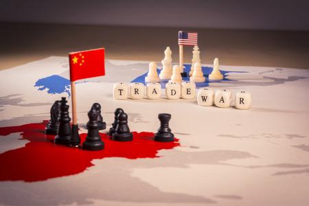 Concepto de guerra comercial de Estados Unidos y China Foto de archivo