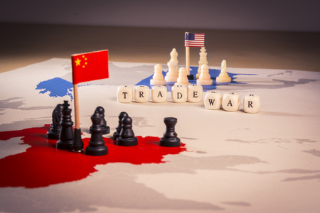 USA and China trade war concept Banco de Imagens