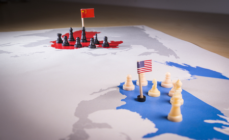 USA and China trade war concept. Tade war caused by the 2018 US tariffs on steel and aluminium