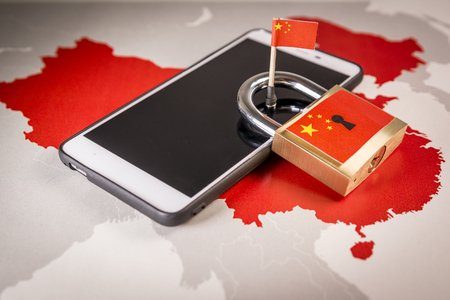 Padlock, China flag on a smartphone and China map. Great Firewall of China concept Stock Photo