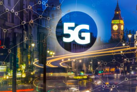 5G or LTE presentation. London modern city on the background