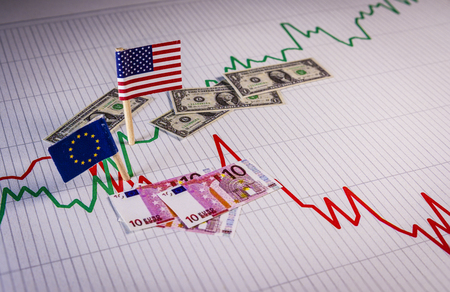 EU euro compared to American dollar. Currency exchange rate fluctuations Stock Photo