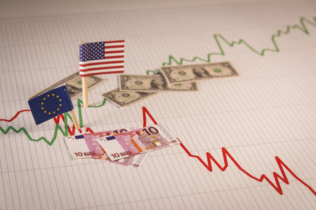 American dollar appreciation against EU euro. Currency exchange rate fluctuations