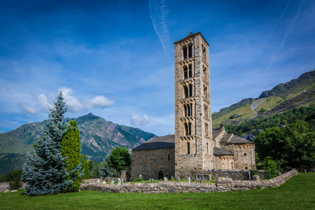 Belfry and church of Sant Climent de Taull, Catalonia, Spain. Romanesque style Stock Photo