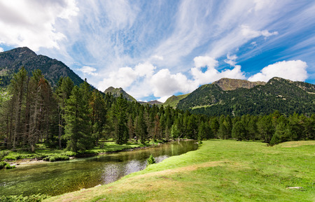 View of the meadows and San nicolau river in the Aiguestortes National Park, Lleida, Pyrenees, Catalonia.
