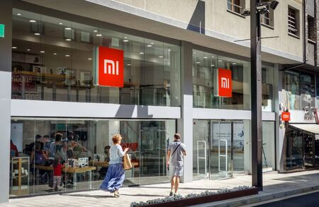 Andorra la Vella, Andorra. September 2018: Xiaomi Mi flagship store opened in august 2018 in this little European country