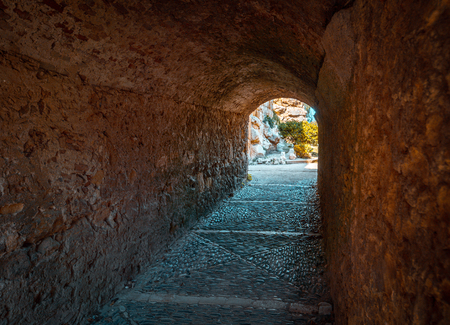 Gate on the Roman walls of ancient Tarraco in Tarragona Stock Photo