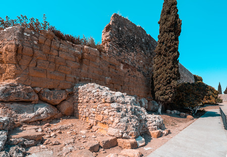 Roman walls ruins of ancient Imperial Tarraco in Tarragona