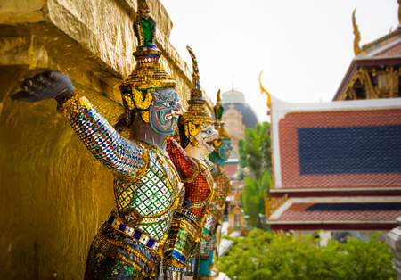 Demon Guardian Golden Pagoda at Wat Phra Kaew Grand Palace in Bangkok