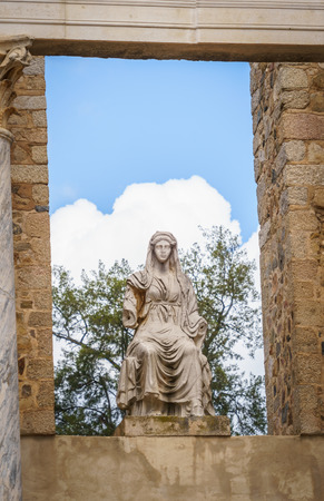 Statue of the goddess Ceres at the Roman Theatre in Merida, Spain