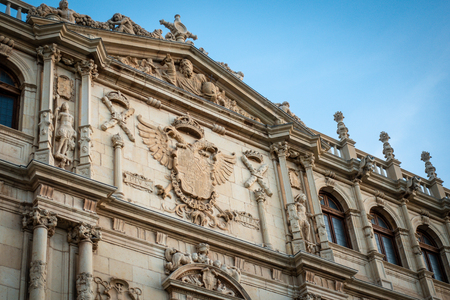 Detail of the facade of Colegio Mayor de San Ildefonso in Alcala de Henares, Spain Stock Photo