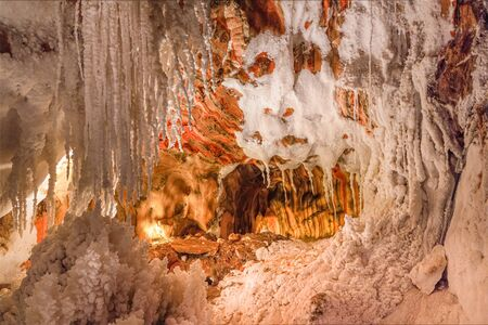 Stalactite formations into the old salt mine of Cardona Stock Photo