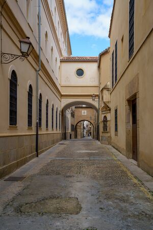 Encarnacion Street at medieval old town of Plasencia, Caceres, Extremadura, Spain Imagens
