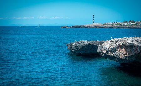 The Cap Artrutx Lighthouse on the Spanish mediterranean island of Menorca.