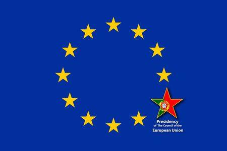 EU Flag, one star bigger with the flag of Portugal inside