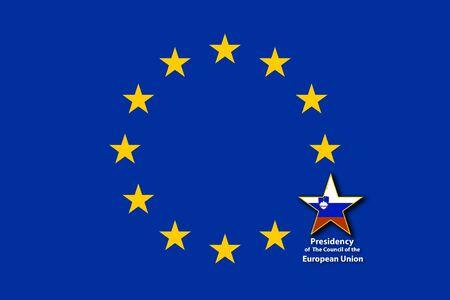 EU Flag, one star bigger with the flag of Slovenia inside Stockfoto