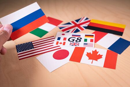 Flags of the Great 7 or G7 countries. summit economic political concept