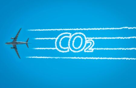 Airplane leaving jet contrails with CO2 word inside Stockfoto