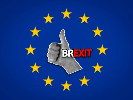Like or Thumbs up Hand Gesture inside a EU flag, Brexit concept. Stockfoto