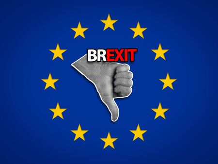Dislike or Thumbs down Hand Gesture inside a EU flag, Brexit concept. Stockfoto