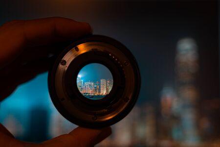 Hong kong night view through camera lens Stock Photo