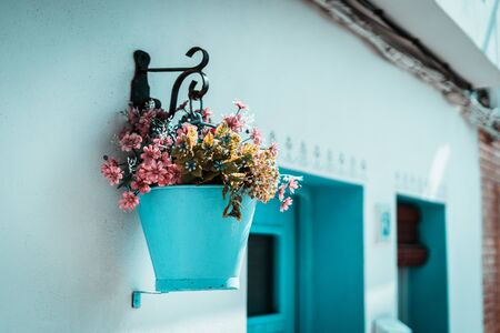 Pink flowers in a blue bucket hung on a white wall, typical mediterranean village