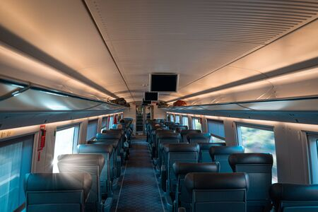 Inside a high speed train compartment Stock fotó