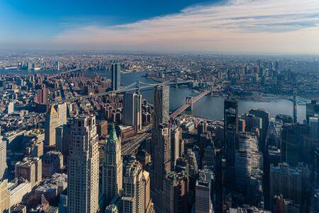 Aerial view of Lower Manhattan, Brooklyn Bridge and Manhattan Bridge in New York