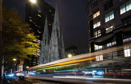 Saint Patricks Cathedral at night, New York
