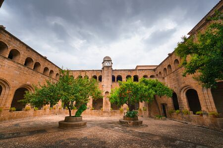 Wide view of a Medieval Cloister in Extremadura, Spain