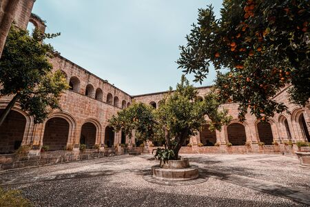 View of a Medieval Cloister in Extremadura, Spain