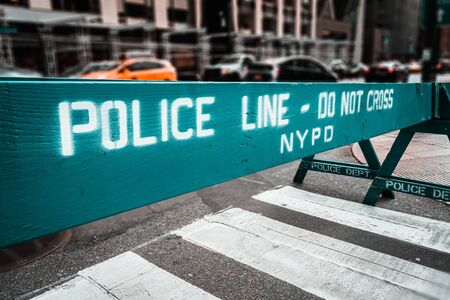 Wooden Do Not Cross police line barriers in New York, USA 스톡 콘텐츠