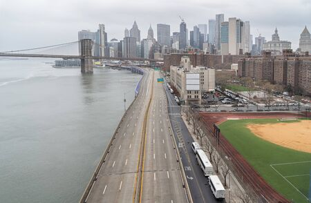 Empty FDR Drive in New York City, USA.